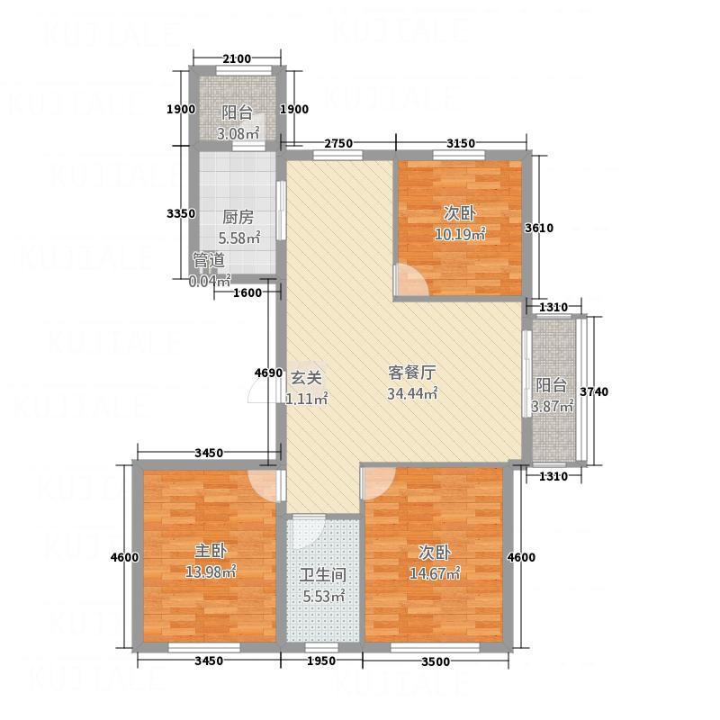 金水湾134.46㎡户型3室2厅1卫1厨