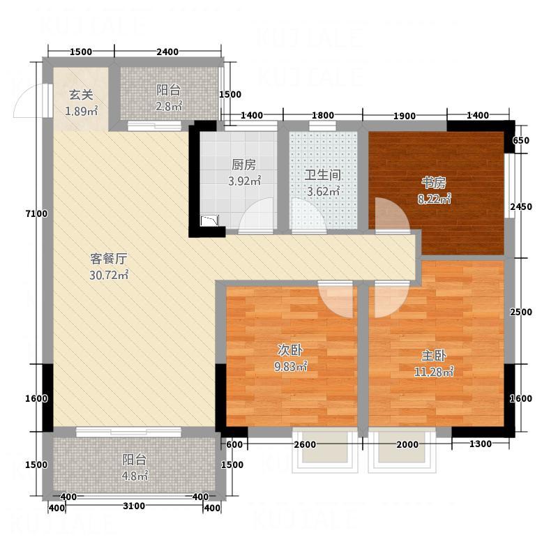三江尚城一期7.00㎡单-A1户型3室2厅1卫1厨