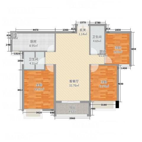 淮安万达广场3室1厅2卫1厨128.00㎡户型图