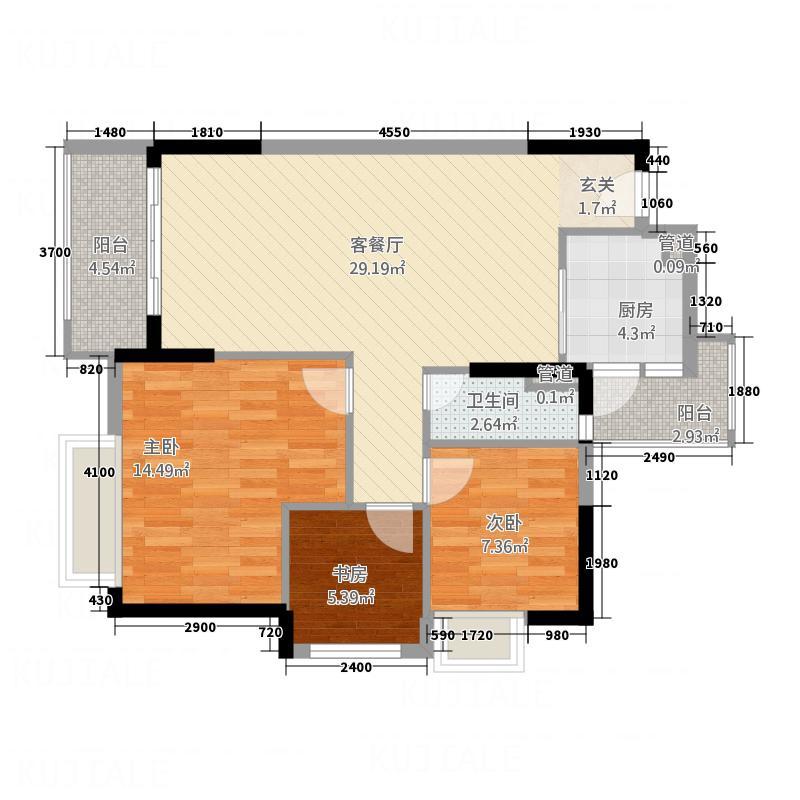 世纪名门7.60㎡4栋03户型3室2厅1卫1厨