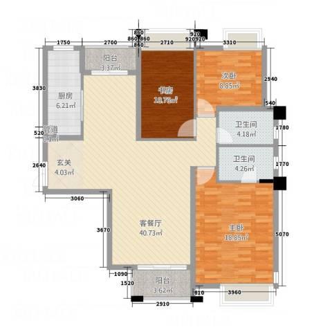 淮安万达广场3室1厅2卫1厨141.00㎡户型图