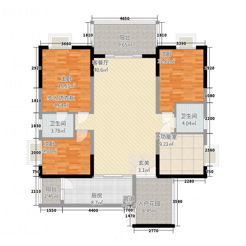 河畔新世界156.00㎡21、22栋标准层39A户型4室2厅2卫1厨
