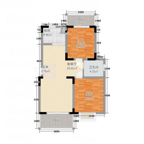 永佳・新城壹号2室1厅1卫1厨78.00㎡户型图