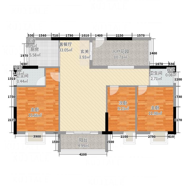 美陶花园117.00㎡11座03单位户型3室2厅2卫1厨