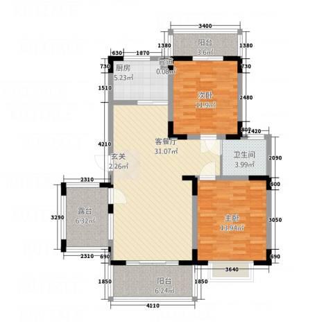永佳・新城壹号2室1厅1卫1厨88.00㎡户型图
