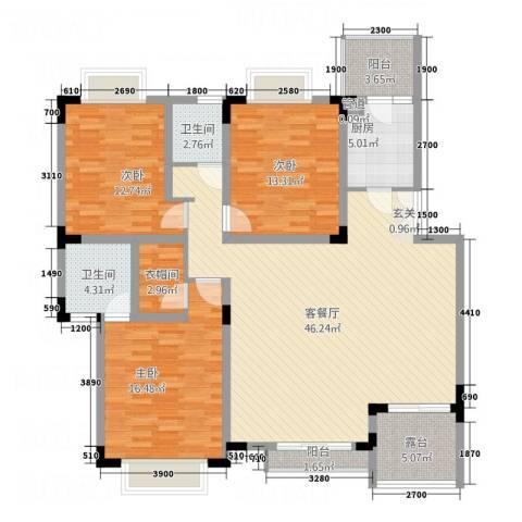美好家园3室1厅2卫1厨163.00㎡户型图