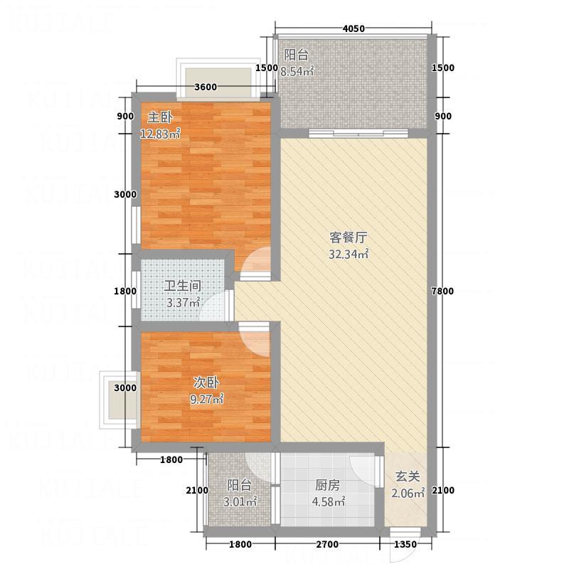 同立紫郡玫瑰园B3户型2室2厅2卫1厨