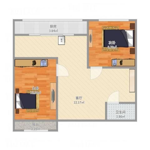 锦江园2室1厅1卫1厨66.00㎡户型图