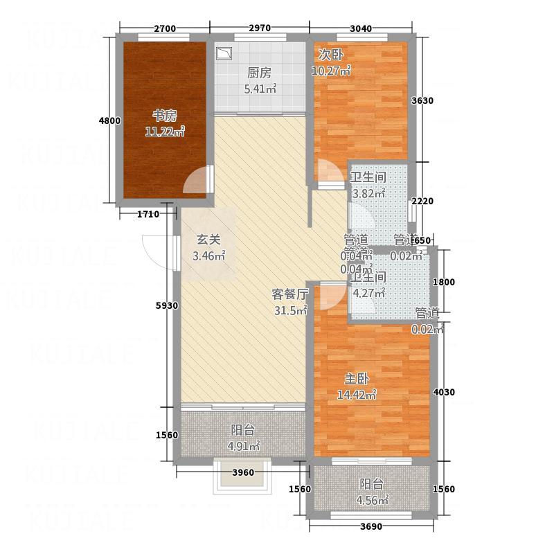 中达・名门世家13.00㎡U户型3室2厅2卫