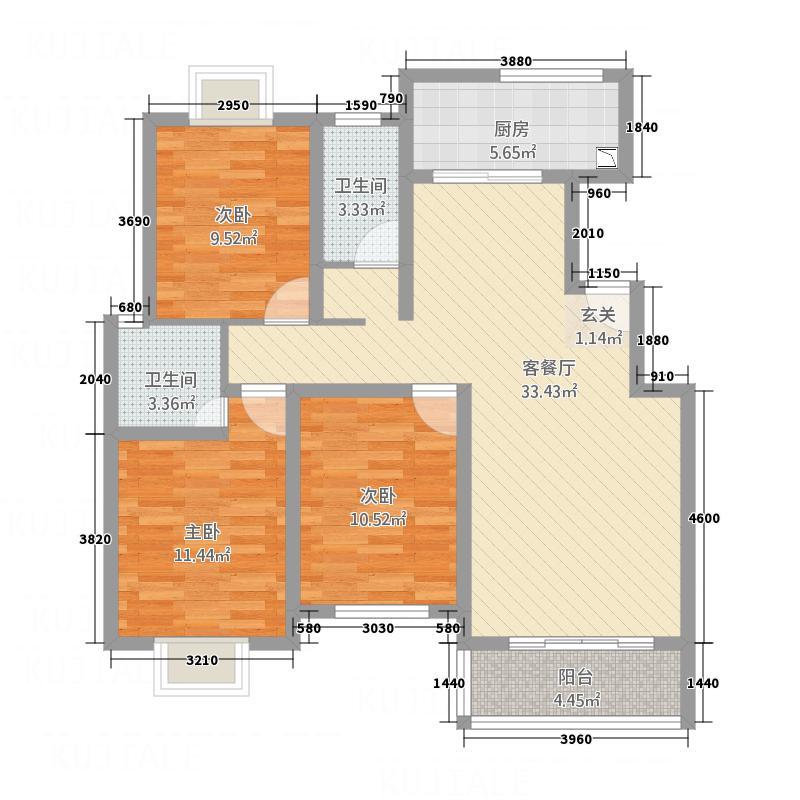 世纪风情13.87㎡4户型3室2厅2卫1厨