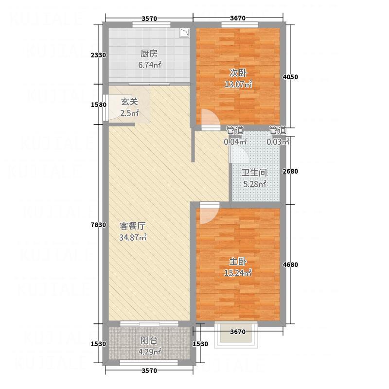 中达・名门世家112.00㎡L户型2室2厅1卫
