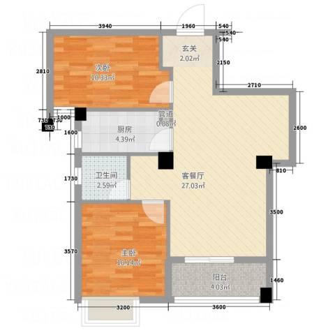 荣凯天阶2室1厅1卫1厨74.00㎡户型图