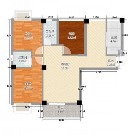 荣凯天阶3室1厅2卫1厨75.04㎡户型图