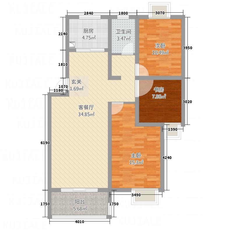 世纪风情118.51㎡5户型3室2厅1卫1厨