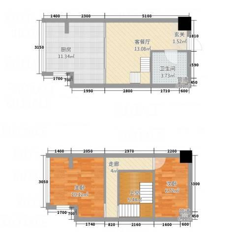 荣凯天阶2室1厅1卫1厨80.00㎡户型图