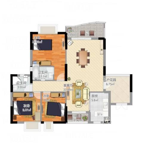 绿杨居3室1厅2卫1厨125.00㎡户型图