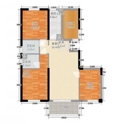 正荣财富中心3室1厅2卫1厨61128.00㎡户型图