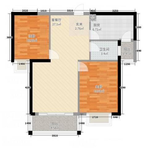 吉立・浅水湾2室1厅1卫1厨66.58㎡户型图