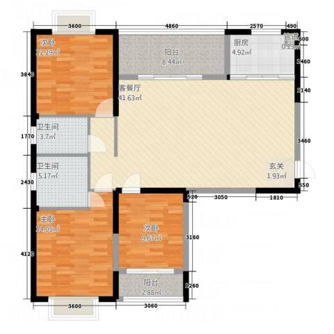 吉立・浅水湾3室1厅2卫1厨102.87㎡户型图