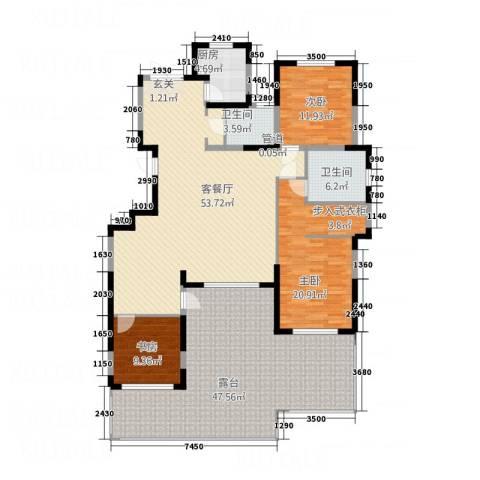 五矿・铂海岸3室1厅2卫1厨218.00㎡户型图