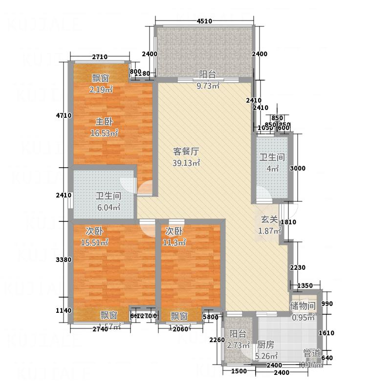 南州国际13.72㎡清华苑户型3室2厅2卫1厨