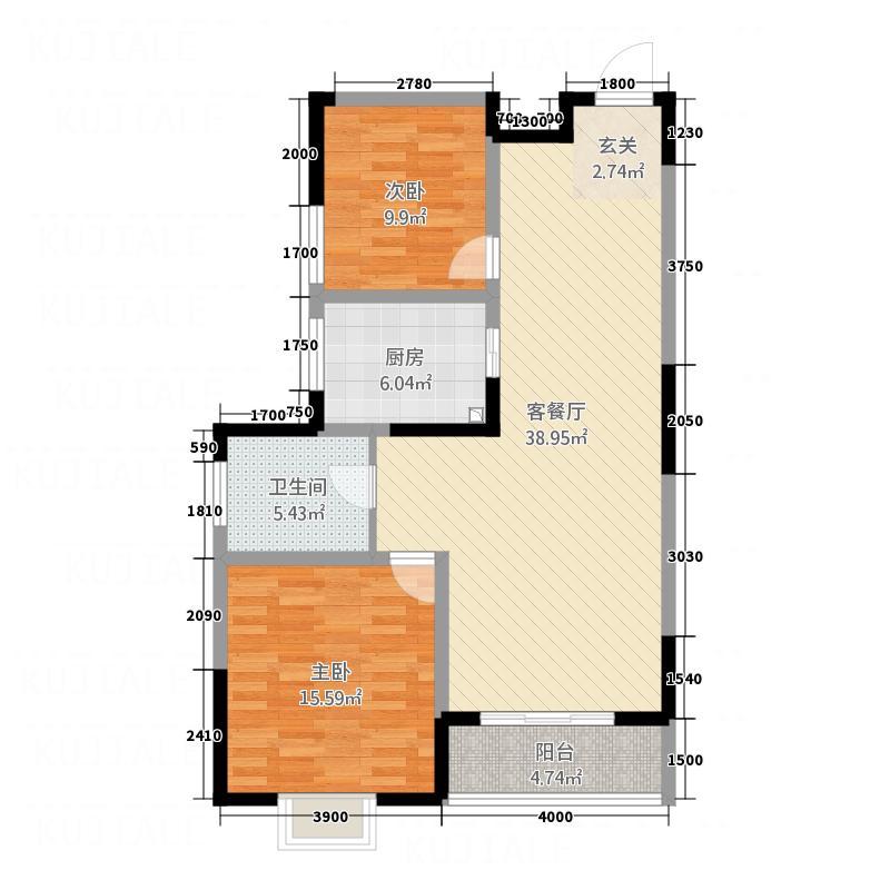 福地大厦15.00㎡B户型2室2厅1卫1厨