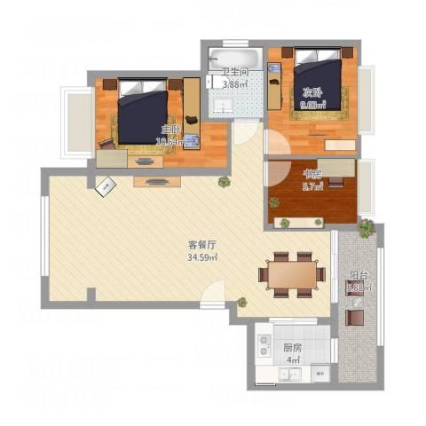 秋谷月半弯4栋21033室1厅1卫1厨106.00㎡户型图