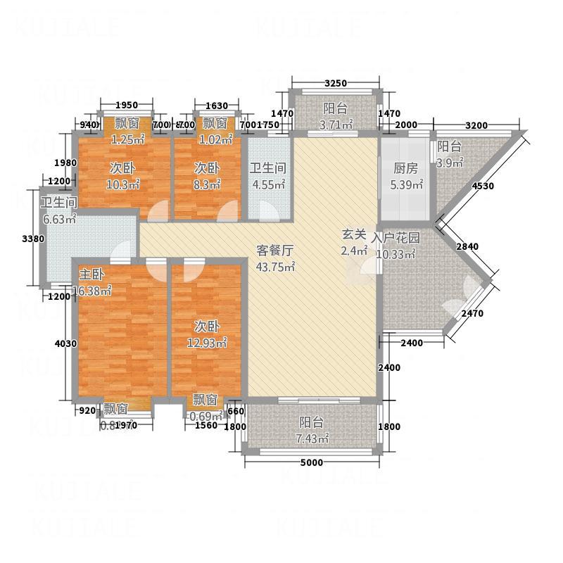 橘洲一号143.80㎡C户型4室2厅2卫1厨