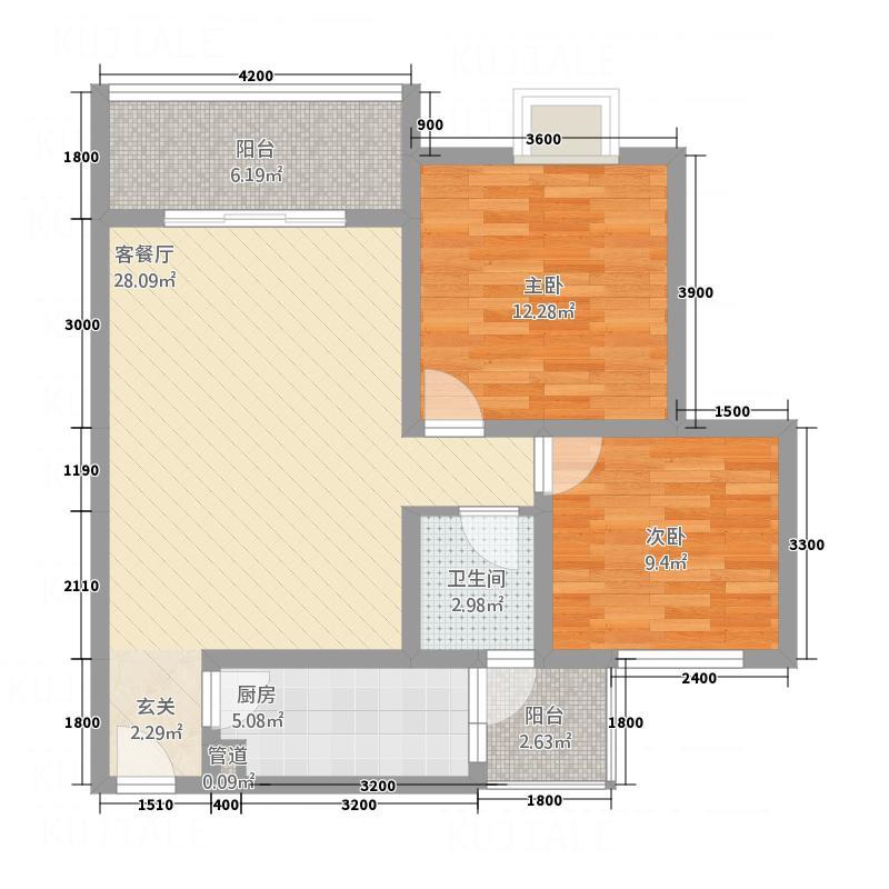 丰谷上城7.00㎡D1户型2室2厅1卫1厨