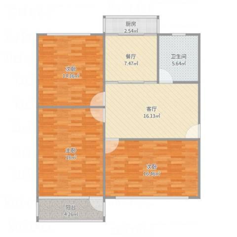 和平新村3室2厅1卫1厨114.00㎡户型图
