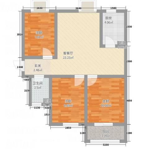 紫气东来3室1厅1卫1厨59.76㎡户型图