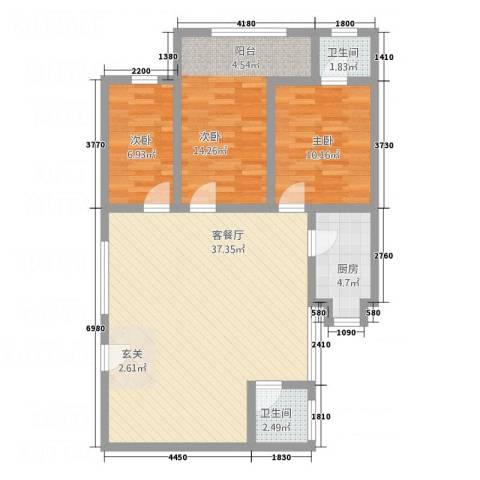 天龙花园3室1厅2卫1厨111.00㎡户型图