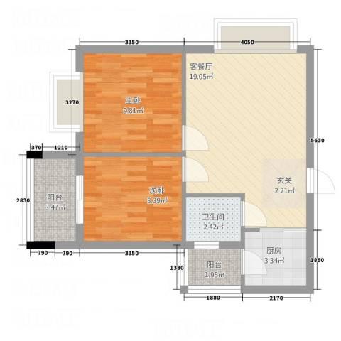 中铭君豪公寓2室1厅1卫1厨66.00㎡户型图