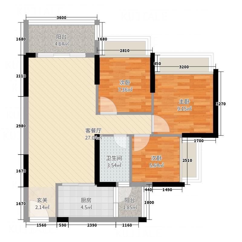 永福翰林苑87.68㎡3、4幢02户型3室2厅1卫1厨