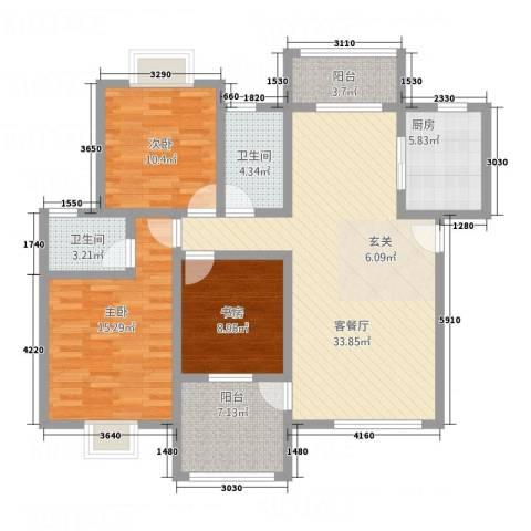 圣地亚哥3室1厅2卫1厨111.00㎡户型图