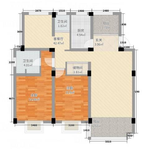 德汇公馆2室1厅2卫1厨97.40㎡户型图