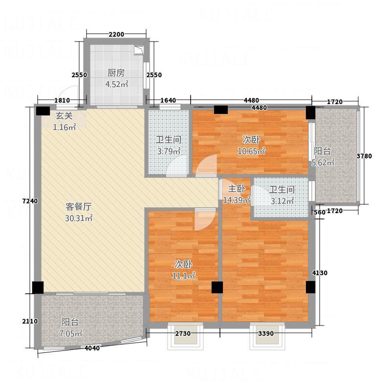 茂达居126.12㎡09户型3室2厅2卫1厨