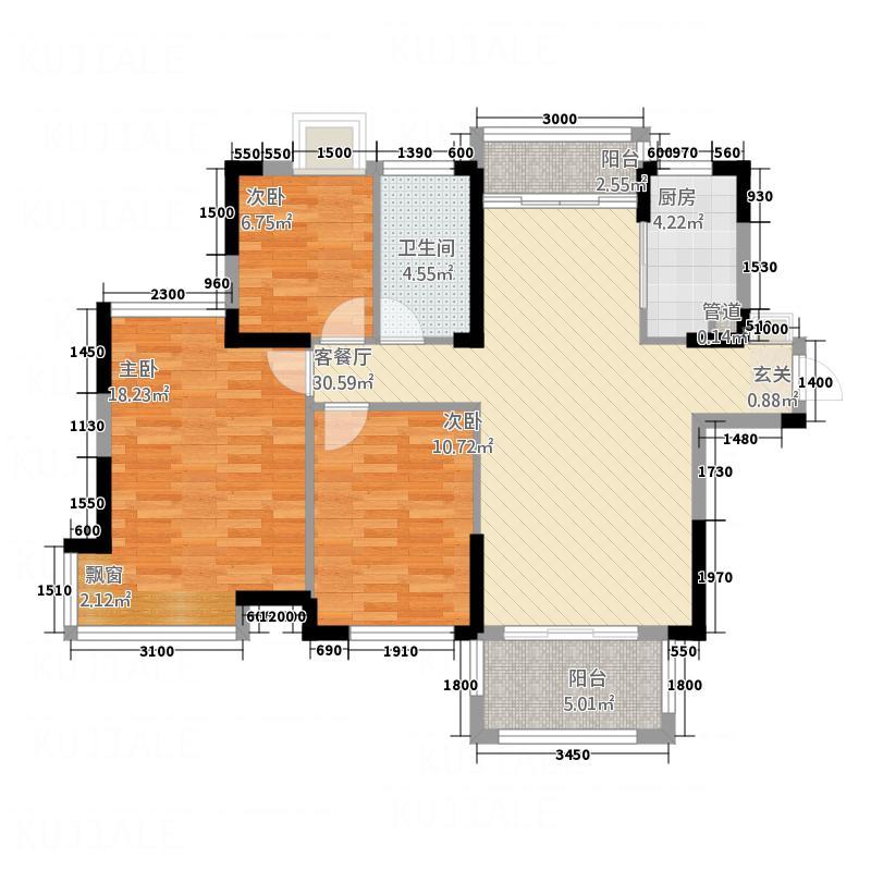国贸天琴湾16.50㎡一期高层18号楼标准层C1户型3室2厅1卫1厨