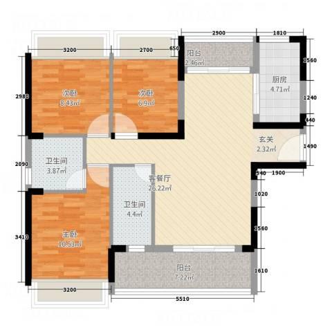 永福翰林苑3室1厅2卫1厨74.74㎡户型图