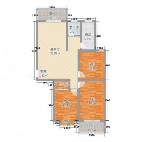 苹果佳园3室1厅1卫1厨127.00㎡户型图