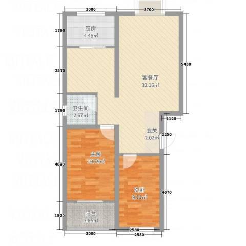 紫薇・香河湾2室1厅1卫1厨63.04㎡户型图