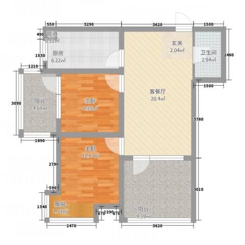 中房・金沙滩澜湾2室1厅1卫1厨63.27㎡户型图