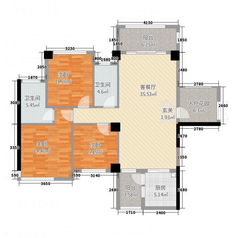 瑞中花园128.00㎡1#2单元02户型3室2厅2卫1厨