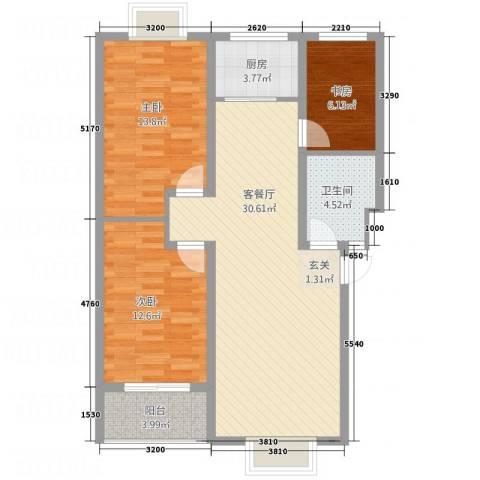 紫薇・香河湾3室1厅1卫1厨75.43㎡户型图