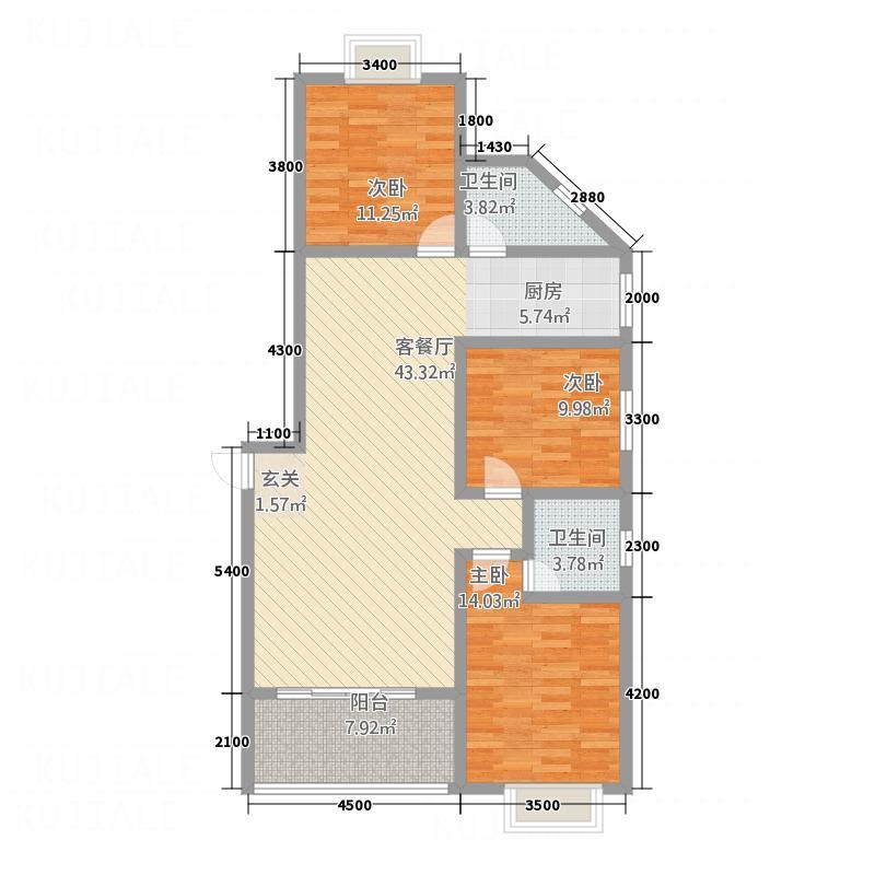 龙湾佳园125.00㎡二期A户型3室2厅
