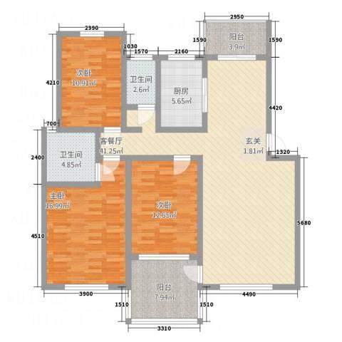 圣地亚哥3室1厅2卫1厨128.00㎡户型图