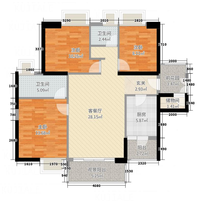 实力北岸123.30㎡F户型3室2厅2卫1厨
