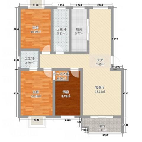 紫薇・香河湾3室1厅2卫1厨124.00㎡户型图