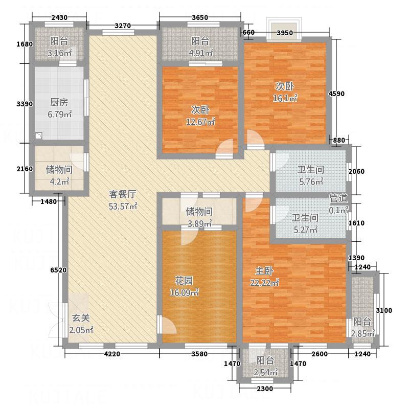 滨江壹号1.25㎡户型3室2厅2卫