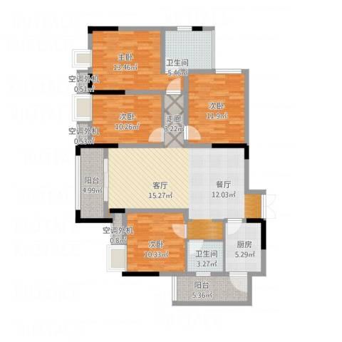 鸥鹏泊雅湾4室1厅2卫1厨153.00㎡户型图